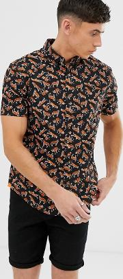 All Over Tiger Print Short Sleeve Button Down Shirt