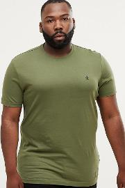 big & tall crewneck  shirt small logo in green