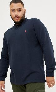 big & tall long sleeve polo slim fit embroidered logo in navy marl