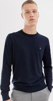 Icon Logo Pima Cotton Crew Neck Knit Jumper