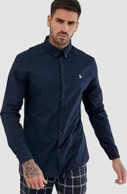 Icon Logo Poplin Stretch Shirt With Button Down Collar