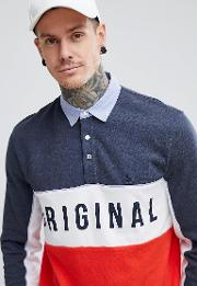 logo chest panelled rugby shirt slim fit in