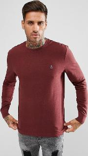 Long Sleeve Top Pique Logo  Red Marl