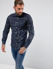 paisley heritage slim fit shirt oxford stretch in navy