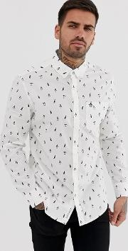 Slim Fit All Over Print Poplin Shirt With Button Down Collar