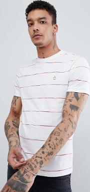 space dye stripe  shirt slim fit embroidered logo in white