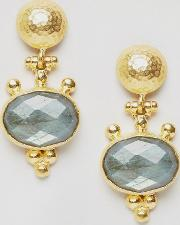 hammered and stone drop earrings