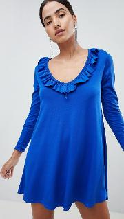 v front mini dress with frill