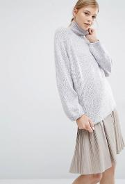 turtleneck jumper with bell sleeves