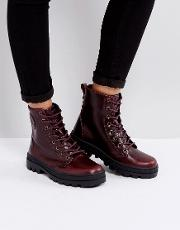 pallabosse regal burgandy leather flat ankle boots