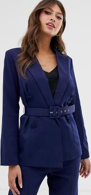 Double Breasted Belted Blazer