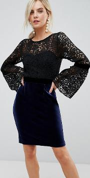 2 in 1 midi lace dress with fluted sleeve and velvet skirt