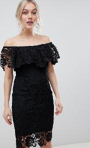 Bardot Lace Pencil Dress With Frill Detail