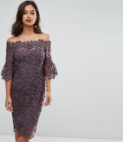 Off Shoulder Crochet Dress With Frill Sleeve