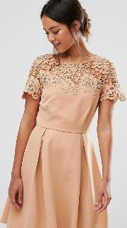 Prom Dress With Tonal Lace Overlay