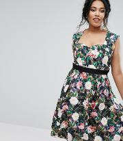 Floral Printed Sweetheart Prom Dress