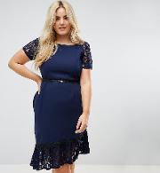 Short Sleeve Lace Dress With Crochet Trim