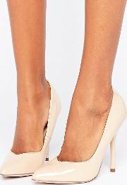 pointed nude stiletto court shoe