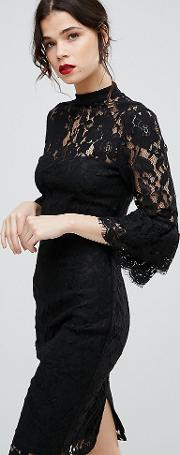 High Neck Midi Lace Dress With Double Frill Sleeve