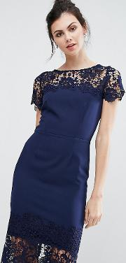 Lace Contrast Midi Ribbed Pencil Dress With Belt