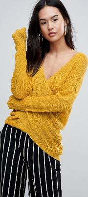 light knit jumper with wrap front
