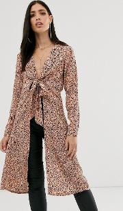 Longline Plunge Bow Front Shirt Scattered Spot Print