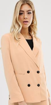 Soft Tailored Blazer With Button Detail