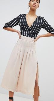 wide leg pleated trousers with zip detail