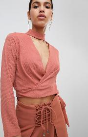 wrap front blouse with choker neck co ord