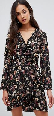 Floral Wrap Dress With Frill