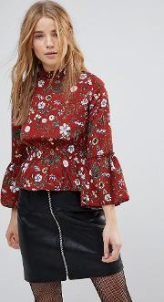 high neck floral printed blouse