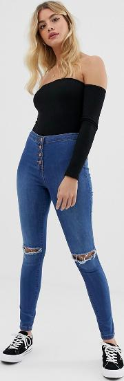 High Waisted Jeggings With Ripped Knee