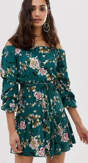 Off Shoulder Floral Print Dress With Self Tie Belt