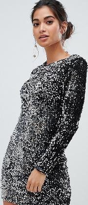 All Over Sequin High Neck Dress
