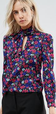 Floral Printed Blouse With Tie Neck
