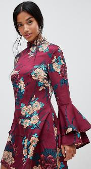High Neck Floral Shift Dress With Flare Sleeves