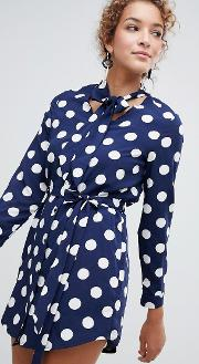 Polka Dot Shirt Dress With Tie Waist And Pussy Bow