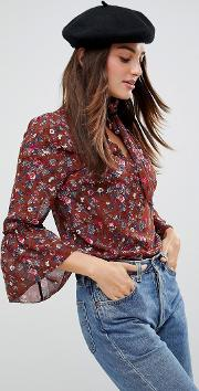 pussybow floral blouse