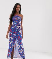 Floral Halterneck Maxi Dress With Keyhole Detail And Tie Waist