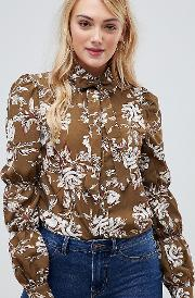 Floral Print Bussy Bow Blouse