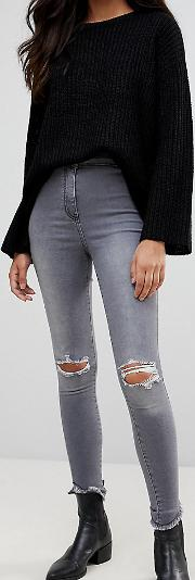 ripped knee jeggings