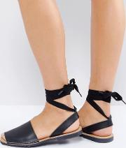 Flat Tie Ankle Leather Sandal