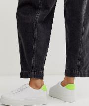 Flatform Lace Up Trainers Neon Mix