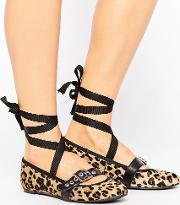 Leopard Leather Strap Ballerina