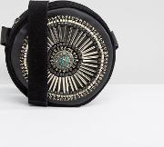 Round Real Leather Embellished Across Body Bag