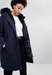 connie military parka coat with faux fur lining
