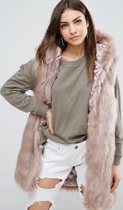 Phoeve Hooded Faux Fur Gilet