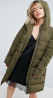 Thelma Faux Fur Hooded Quilted Coat