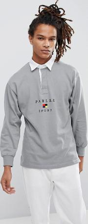 long sleeve rugby polo with sports flag logo in grey