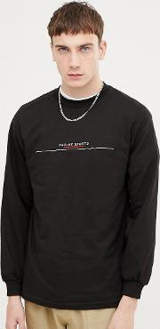 long sleeve t shirt with embroidered bar logo in black